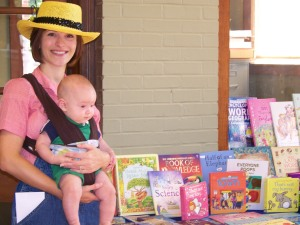 Stephanie Coker and son, Grady love reading at the Bluebird Market.
