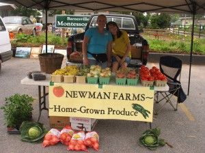 Newman Farms is a local grower who brings fruits and veggies to Bluebird Market.