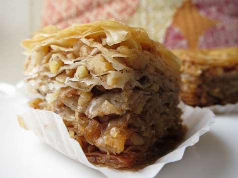 Layers of crispy phyllo dough with thinly sliced fresh apples, walnuts and honey