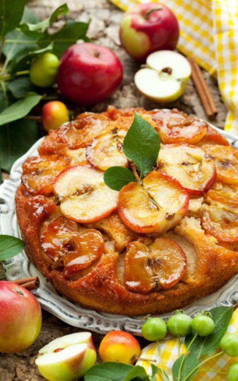 Apple Cinnamon Upside-Down Cake.  Visit tastesreallygood.com