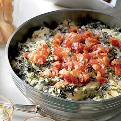 Warm Kale-and-Asiago Dip | Bacon and trendy kale update the hot spinach dip. | SouthernLiving.com