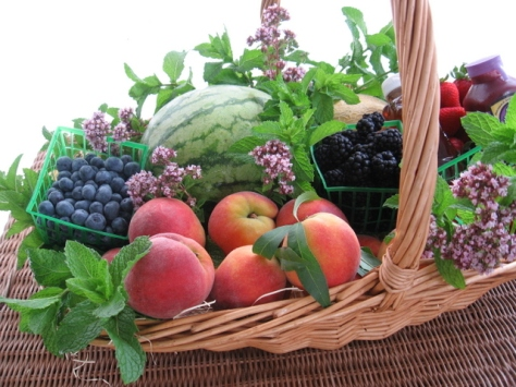 summer fruit baskets  with berries