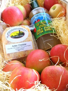 apple cheese and cider baskets flat creek lodge hillside and pink ladies